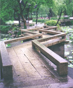 Beijing at First Light, photo of wooden walkway through peaceful garden.